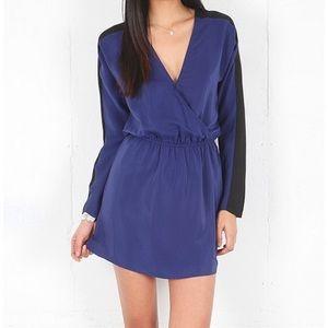 Parker Blue & Black Colorblock Faux Wrap Dress